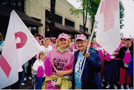 Dorothy Stuck and Ann Glover at the Susan G. Komen Survivor Parade, 2004 © Pryor Center for Arkansas Oral and Visual History, University of Arkansas