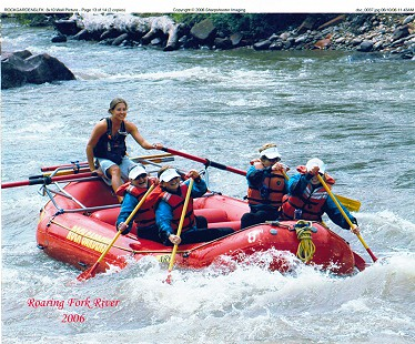 Dorothy Stuck with rafting companions; (left to right) unknown guide, Dorothy Stuck, Lee Spindler, Nan Snow, and Anne Glover; Roaring Fork River, Colorado, 2006 © Pryor Center for Arkansas Oral and Visual History, University of Arkansas