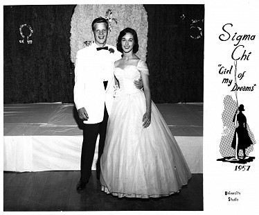 "B. Alan Sugg and Jean (Bussell) Sugg, Sigma Chi ""Girl of My Dreams"" dance, University of Arkansas, 1957 © Pryor Center for Arkansas Oral and Visual History, University of Arkansas"