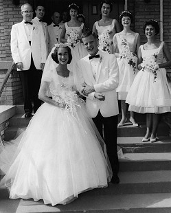B. Alan Sugg and Jean Bussell Sugg on their wedding day; Alan's father, Barney Sugg, back left; June 8, 1960 © Pryor Center for Arkansas Oral and Visual History, University of Arkansas