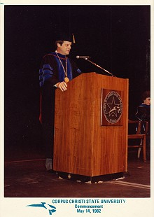 B. Alan Sugg, chancellor of Corpus Christi State University, speaks at commencement, May 14, 1982 © Pryor Center for Arkansas Oral and Visual History, University of Arkansas
