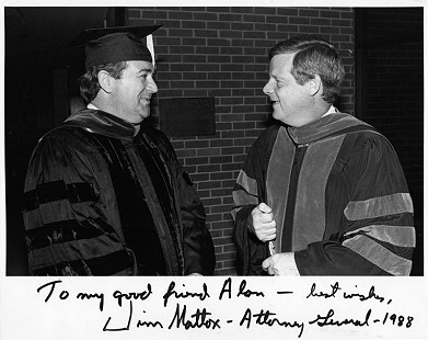 B. Alan Sugg and Jim Mattox, Texas Attorney General, 1988 © Pryor Center for Arkansas Oral and Visual History, University of Arkansas