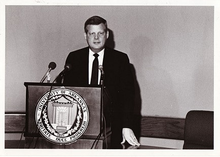B. Alan Sugg accepting job as president of the University of Arkansas System, February 1990 © Pryor Center for Arkansas Oral and Visual History, University of Arkansas