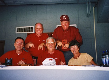 Reynie Rutledge, Gary George, B. Alan Sugg, Jim Lindsey, and Jean Sugg at the Arkansas vs. Texas football game © Pryor Center for Arkansas Oral and Visual History, University of Arkansas