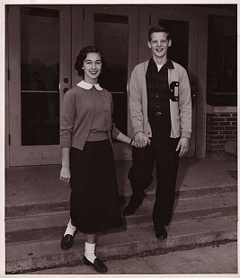 "Jean Bussell (Sugg) and B. Alan Sugg in a yearbook picture titled: ""Mr. and Miss Central High;"" Helena, Arkansas © Pryor Center for Arkansas Oral and Visual History, University of Arkansas"