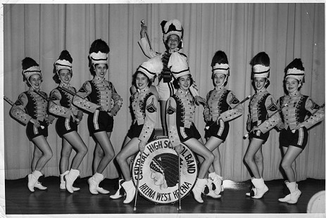 Jean Bussell (Sugg), 4th from right, sitting on drum, Central High School Band majorettes, Helena West Helena, Arkansas © Pryor Center for Arkansas Oral and Visual History, University of Arkansas