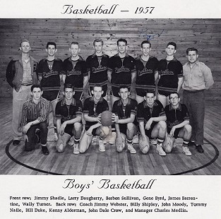 "Berbon ""Bubba"" Sullivan (front row, 3rd from left) with the Elaine High School Panthers basketball team; Elaine, Arkansas, 1957 © Pryor Center for Arkansas Oral and Visual History, University of Arkansas"