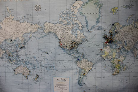 World map with pins illustrating where people travelled from to visit Bubba's Blues Corner, Helena-West Helena, Arkansas © Pryor Center for Arkansas Oral and Visual History, University of Arkansas