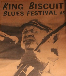 Closeup of 1988 King Biscuit Blues Festival poster displayed at Bubba's Blues Corner, Helena-West Helena, Arkansas © Pryor Center for Arkansas Oral and Visual History, University of Arkansas