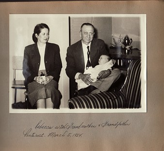Buddy Sutton's daughter, Rebecca, and her maternal grandparents, Leola and Joseph Newton Pentecost; March 5, 1954 © Pryor Center for Arkansas Oral and Visual History, University of Arkansas
