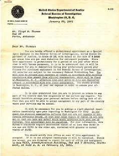 FBI Offer of Appointment as Special Agent - Letter to Floyd Thomas from J. Edgar Hoover (page 1); January 23, 1951 © Pryor Center for Arkansas Oral and Visual History, University of Arkansas
