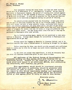 FBI Offer of Appointment as Special Agent - Letter to Floyd Thomas from J. Edgar Hoover (page 2); January 23, 1951 © Pryor Center for Arkansas Oral and Visual History, University of Arkansas