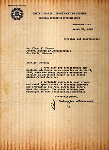 Personal commendation letter to Floyd Thomas from J. Edgar Hoover; March 30, 1956 © Pryor Center for Arkansas Oral and Visual History, University of Arkansas