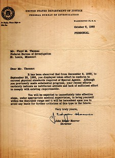Personal letter to Floyd Thomas from J. Edgar Hoover regarding FBI physical standards; October 6, 1960 © Pryor Center for Arkansas Oral and Visual History, University of Arkansas