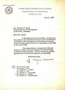 Letter from J. Edgar Hoover to Herbert Hoxie commending Floyd Thomas and other agents in Little Rock; June 5, 1970  © Pryor Center for Arkansas Oral and Visual History, University of Arkansas