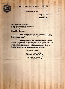 Personal letter of commendation to Floyd Thomas from Clarence M. Kelley for work on civil rights case; July 27, 1973 © Pryor Center for Arkansas Oral and Visual History, University of Arkansas