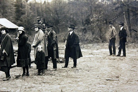 John D. Trimble Jr.'s father, John Trimble Sr. (3rd from right) at an oil field; detail from previous image, El Dorado, Arkansas © Pryor Center for Arkansas Oral and Visual History, University of Arkansas