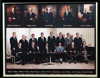 John D. Trimble Jr. (top row on right) with the First National Bank board of directors, El Dorado, Arkansas, 1982 © Pryor Center for Arkansas Oral and Visual History, University of Arkansas