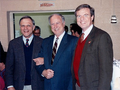 Jim Guy Tucker (right) with US Senator David Pryor and US Congressman Ray Thornton; Gillette Coon Supper, Gillette, Arkansas, 1993 © Pryor Center for Arkansas Oral and Visual History, University of Arkansas