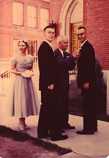 Harry Ward on his wedding day with his brother (far right) and his parents; Pueblo, Colorado, 1955 © Pryor Center for Arkansas Oral and Visual History, University of Arkansas