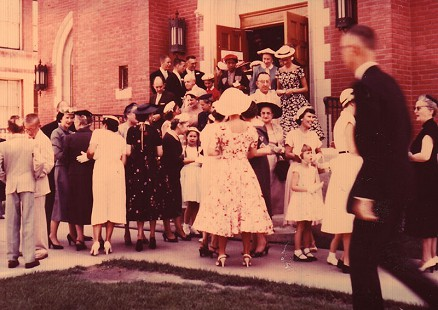 Wedding guests after the wedding ceremony for Betty Jo and Harry Ward; Pueblo, Colorado, 1955 © Pryor Center for Arkansas Oral and Visual History, University of Arkansas