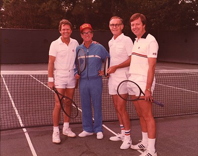 Harry Ward with his friends after tennis: Steve Stephens, Bobby Riggs, Harry Ward, and Dennis Davis; September 1984 © Pryor Center for Arkansas Oral and Visual History, University of Arkansas