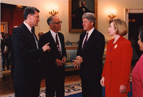 Harry Ward with Bill and Hillary Clinton at the White House © Pryor Center for Arkansas Oral and Visual History, University of Arkansas