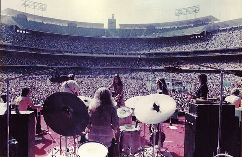 John Ware on drums with Emmylou Harris and the Hot Band, opening for Elton John at Dodger Stadium; Los Angeles, California, 1975 © Pryor Center for Arkansas Oral and Visual History, University of Arkansas