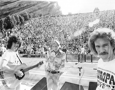 Rodney Crowell, Glen D Hardin, and John Ware on stage with the Hot Band at Red Rocks Amphitheatre; Morrison, Colorado, 1976 © Pryor Center for Arkansas Oral and Visual History, University of Arkansas