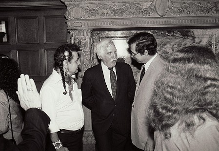 Parker Westbrook (center) with Skip Stewart-Abernathy (right), Governor's Conference Room, Arkansas State Capitol, Little Rock, Arkansas, ca. 1970s © Pryor Center for Arkansas Oral and Visual History, University of Arkansas