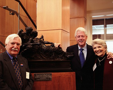 Parker Westbrook, President Bill Clinton, and Harriett Fulbright at the William J. Clinton School of Public Service; the bronze and marble statue was a gift from Senator J. William Fulbright to Parker Westbrook, who later donated the statue to the Clinton School; Little Rock, Arkansas © Pryor Center for Arkansas Oral and Visual History, University of Arkansas