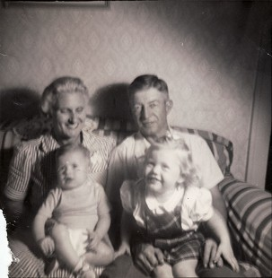 Bud Whetstone's maternal great-grandparents, Emma Jane Nesbitt Dill and G. I. Dill; Bud Whetstone; and sister, Ruth Whetstone © Pryor Center for Arkansas Oral and Visual History, University of Arkansas