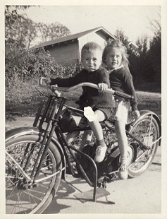 Bud Whetstone and sister, Ruth, on a motorcycle, ca. 1945 © Pryor Center for Arkansas Oral and Visual History, University of Arkansas