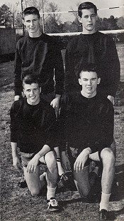 Bud Whetstone (bottom left) with members of the mile relay track team; 1957 <i>Wildcat</i> yearbook of El Dorado High School &copy; Pryor Center for Arkansas Oral and Visual History, University of Arkansas