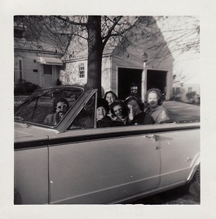Whetstone family car, Dodge Dart, with Becky Whetstone, sister of Bud Whetstone, behind the wheel © Pryor Center for Arkansas Oral and Visual History, University of Arkansas