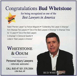 Advertisement in <i>AY Magazine</i> celebrating Bud Whetstone for being recognized one of the best lawyers in America, 2011 &copy; Pryor Center for Arkansas Oral and Visual History, University of Arkansas