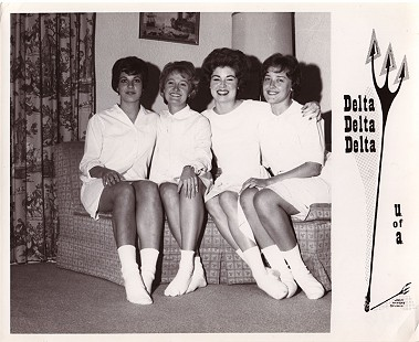 Donna Axum (Whitworth) (3rd from left) with Tri Delta pledge sisters, University of Arkansas © Pryor Center for Arkansas Oral and Visual History, University of Arkansas