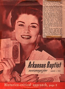 Donna Axum (Whitworth) on the cover of <i>Arkansas Baptist</i> after being named Miss Arkansas, August 1, 1963 &copy; Pryor Center for Arkansas Oral and Visual History, University of Arkansas