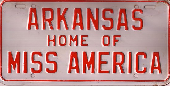 Miss America novelty license plate popular during the reign of Donna Axum (Whitworth) as Miss America 1964 © Pryor Center for Arkansas Oral and Visual History, University of Arkansas