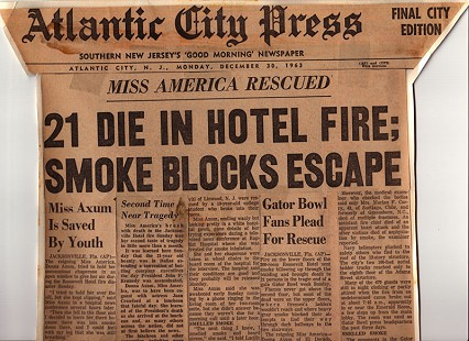 Front page of the <i>Atlantic City Press</i> detailing a fire in the hotel where Donna Axum (Whitworth) was staying; December 30, 1963 &copy; Pryor Center for Arkansas Oral and Visual History, University of Arkansas
