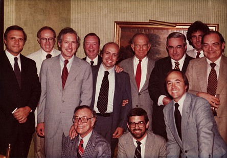 Senator David Pryor (2nd row on left) with Senator J. William Fulbright (3rd row, 3rd from left) and members of his staff, including Lee Williams (3rd row, 2nd from left), Hoyt Purvis (2nd row, 3rd from left), and David Lambert (1st row on right); 116 Club, Washington, DC, ca. 1972 © Pryor Center for Arkansas Oral and Visual History, University of Arkansas