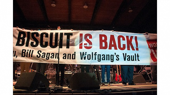 "The ""Biscuit is Back"" banner displayed at the 2010 Arkansas Blues and Heritage Festival heralding the return of the name King Biscuit Blues Festival in 2011 © Eric Gorder 2010; egorder@gmail.com"