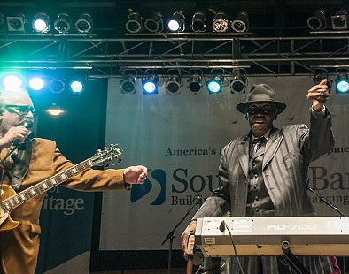 Pinetop Perkins (right) and Bob Margolin finish up a performance on the main stage at the Arkansas Blues and Heritage Festival; 2009 © Eric Gorder 2009; egorder@gmail.com