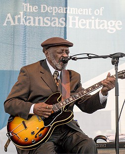Robert Lockwood Jr., the only individual taught to play the guitar by Robert Johnson, performs onstage at the Arkansas Blues and Heritage Festival; 2006 © Eric Gorder 2006; egorder@gmail.com