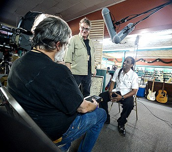 Kenny Neal (right) being interviewed by Don Wilcock (left) and Scott Lunsford at the King Biscuit Blues Festival; 2016 © Eric Gorder 2017; egorder@gmail.com