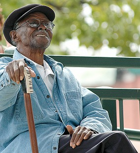 Pinetop Perkins enjoys a performance at the Arkansas Blues and Heritage Festival; 2005 © Eric Gorder 2005; egorder@gmail.com
