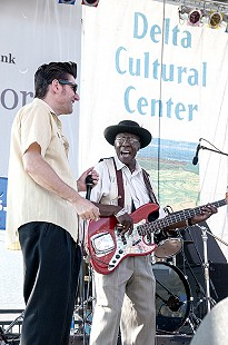 Bob Corritore (left) and Bob Stroger onstage at the Arkansas Blues and Heritage Festival; 2010 © Eric Gorder 2010; egorder@gmail.com