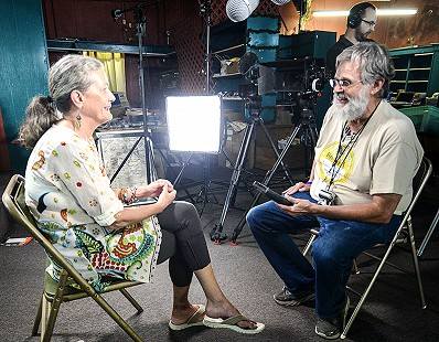 Reba Russell being interviewed by Don Wilcock during the King Biscuit Blues Festival; 2016 © Eric Gorder 2017; egorder@gmail.com