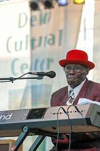 "Joseph William ""Pinetop"" Perkins performs on the main stage at the Arkansas Blues and Heritage Festival; 2005 © Eric Gorder 2005; egorder@gmail.com"