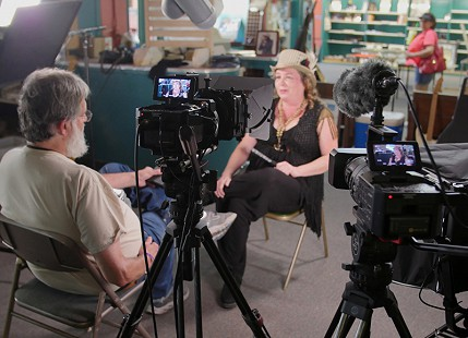 Don Wilcock interviews Christina Vierra at Bubba's Blues Corner during the King Biscuit Blues Festival; Helena, Arkansas, 2016 © Pryor Center for Arkansas Oral and Visual History, University of Arkansas